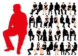 vector, isolated silhouette of people sitting, silhouette of seated men and women, collection