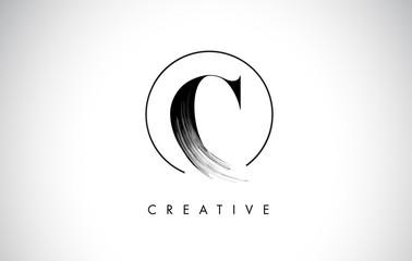 C Brush Stroke Letter Logo Design. Black Paint Logo Leters Icon.