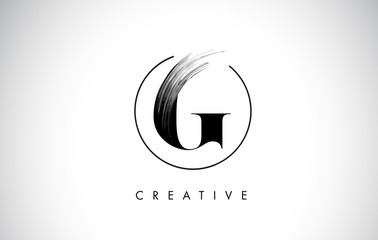G Brush Stroke Letter Logo Design. Black Paint Logo Leters Icon.