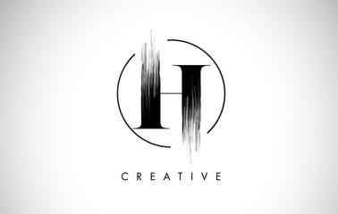 H Brush Stroke Letter Logo Design. Black Paint Logo Leters Icon.
