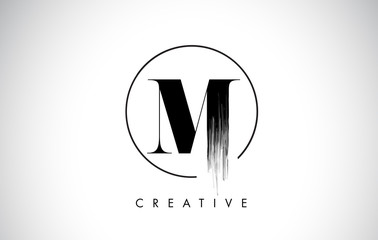 M Brush Stroke Letter Logo Design. Black Paint Logo Leters Icon.