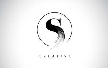 S Brush Stroke Letter Logo Design. Black Paint Logo Leters Icon. Wall mural