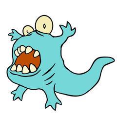 Funny blue dinosaur. Vector illustration.