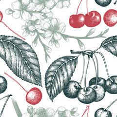 Vector seamless pattern with hand drawn cherry tree illustration
