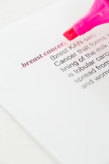 Cropped image of pink felt tip pen with Breast Cancer text on