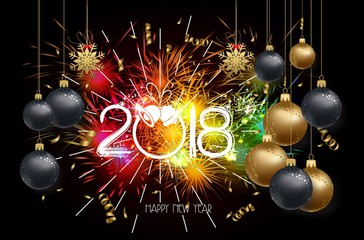 Happy new year 2018 background with christmas confetti gold and firework