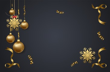 vector illustration of christmas 2018 background with christmas confetti gold and black colors lace for text