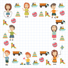 Kindergarten Vector flat icons for advertising brochure. Ready for your designs. Children play. Kindergarten kids with toys. Funny cartoon character. Vector illustration