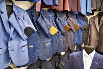Men's sport coats in clothing store