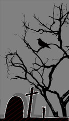 Dead Tree in Graveyard - Halloween Background