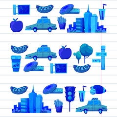 New york Set Vector pattern with flat icons Taxi, apple, donut, statue of Liberty New york Usa travel