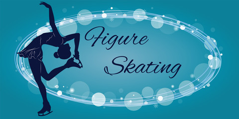 Silhouette of the figure skater against the background of blue elements