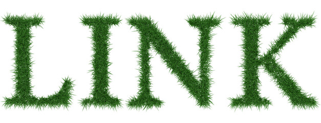 Link - 3D rendering fresh Grass letters isolated on whhite background.