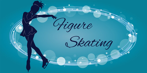 The figure skater's silhouette on a blue background from patterns and elements. Vector illustration