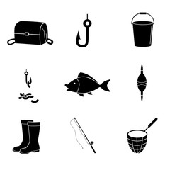 Fishing icon set. Vector art.