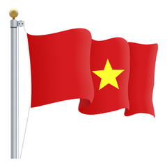 Waving Vietnam Flag Isolated On A White Background. Vector Illustration. Official Colors And Proportion. Independence Day