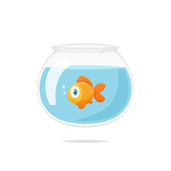 Cartoon goldfish in fishbowl vector