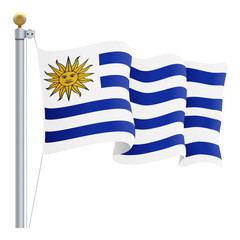 Waving Uruguay Flag Isolated On A White Background. Vector Illustration. Official Colors And Proportion. Independence Day