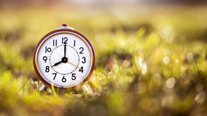 Autumn time concept - red alarm clock in the grass