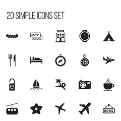 Set Of 20 Editable Trip Icons. Includes Symbols Such As Plane, Hotel, Aircraft And More. Can Be Used For Web, Mobile, UI And Infographic Design.