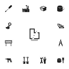 Set Of 13 Editable Structure Icons. Includes Symbols Such As Barrier, Turn-Screw, Electric Screwdriver And More. Can Be Used For Web, Mobile, UI And Infographic Design.