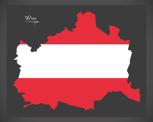 Wien map of Austria with Austrian national flag illustration
