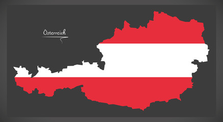 Austria in Europe with Austrian national flag illustration