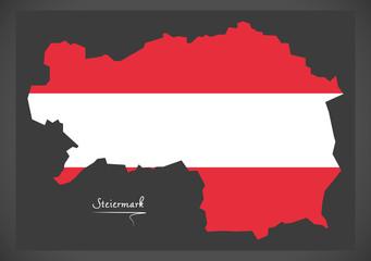 Steiermark map of Austria with Austrian national flag illustration