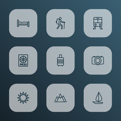 Journey Outline Icons Set. Collection Of Suitcase, Certificate, Hill And Other Elements. Also Includes Symbols Such As Bedstead, Backpack, Baggage.