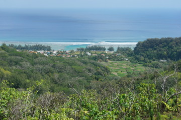 Viewpoint over the coastal village of Avera from the heights of the island of Rurutu, south Pacific ocean, Austral archipelago, French Polynesia