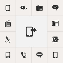 Set Of 13 Editable Device Icons. Includes Symbols Such As Address Notebook, Forum, Tablet And More. Can Be Used For Web, Mobile, UI And Infographic Design.