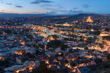 View at at the old part of Tbilisi at sunset. Night view of Tbilisi in Georgia