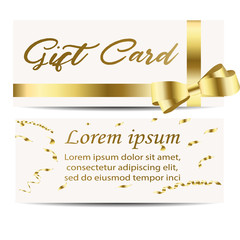 Set of beautiful cards with gold gift bows with