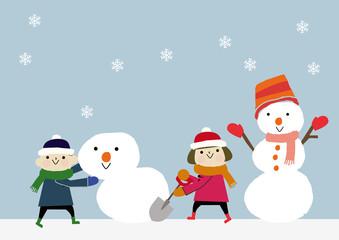 雪だるまと子供 冬のイメージ
