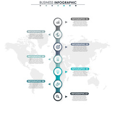 Wall Mural - Business data, chart. Abstract elements of graph, diagram with 7 steps, strategy, options, parts or processes. Vector business template for presentation. Creative concept for infographic