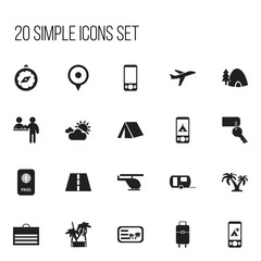 Set Of 20 Editable Holiday Icons. Includes Symbols Such As Compass, Vacation, Entrance And More. Can Be Used For Web, Mobile, UI And Infographic Design.