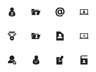 Set Of 12 Editable Network Icons. Includes Symbols Such As Telephone Directory, Monitor, Mail Symbol And More. Can Be Used For Web, Mobile, UI And Infographic Design.