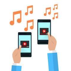 Hands holding smartphonewith video player on screen. flat illustration.