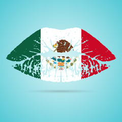 Mexico Flag Lipstick On The Lips Isolated On A White Background. Vector Illustration. Kiss Mark In Official Colors And Proportions. Independence Day