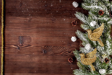 Christmas decorations New Year on dark wooden background top vie