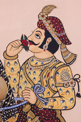 Detail from wall art within the City Palace complex at Udaipur