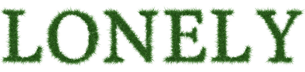 Lonely - 3D rendering fresh Grass letters isolated on whhite background.