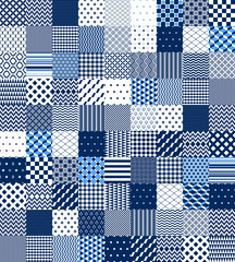Blue and white patchwork quilted geometric seamless pattern, vector set