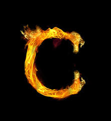 Letter C, latin number 100 on Fire