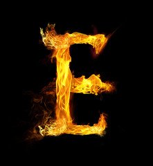 Letter E on Fire