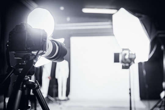 Photo studio with professional lighting. Set up for a shoot