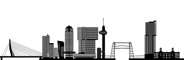 Foto auf Leinwand Rotterdam rotterdam skyline with hotel, landmarks erasmusbridge and modern architecture