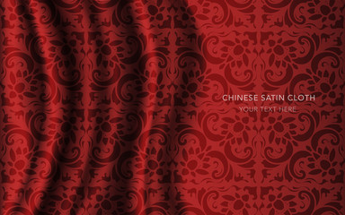 Traditional Red Chinese Silk Satin Fabric Cloth Background curve spiral cross flower