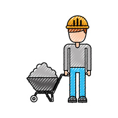 construction worker with wheelbarrow cement vector illustration