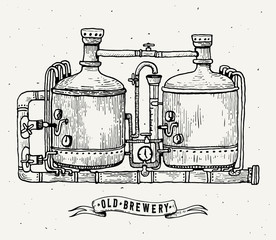 Retro brewery engraving. Copper tanks and barrels in brewery beer. Local brewery. Vintage vector engraving illustration for web, poster, label, invitation to oktoberfest festival, party.